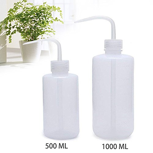 OAMCEG Wash Bottle, 2 Pack LDPE Squeeze Bottles, Safe Plastic Low Density Polyethylene Bottles with Narrow Mouth, for Chemistry, Industry, Lab & Gardening, 500ml / 17oz, 1000ml / 33.8oz