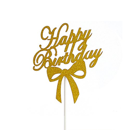 PALASASA Happy Birthday Cake Toppers Birthday Cake Flags Decoration Gold Glitter Party (29 Halloween Cakes)