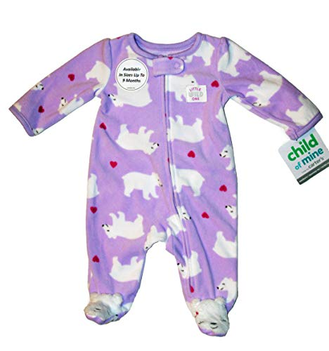 Child of Mine by Carter's Girls Lavender with White Polar Bears Sleep & Play Zipper Fleece Footed Pajamas Newborn
