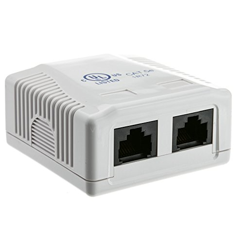 - RJ45 2 Port Wall Mount Biscuit Network Ethernet UTP LAN Jack - White - NEW