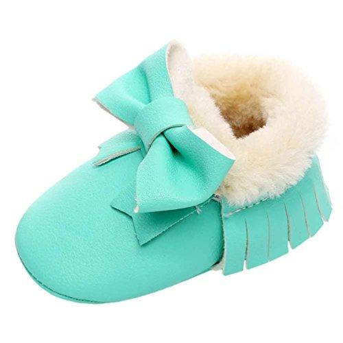 Jamicy® Baby Schneestiefel Bowknot weiche Sohle nette Baumwolle Kleinkind Stiefel tadelloses Grün