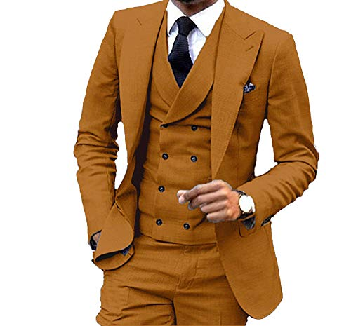 JY Men's Fashion 3 Pieces Men Suits Wedding Suits for Men Groom Tuxedos Reddish Brown