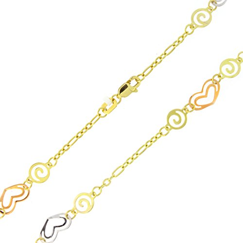 14k Yellow, White and Rose Gold Tri-Color Hearts and Swirls Anklet - 10'' by Beauniq