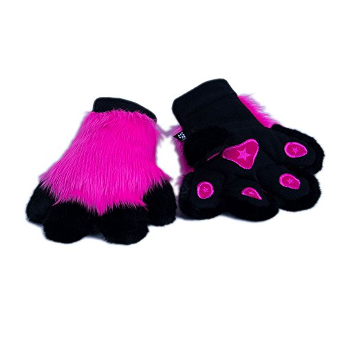 Pink Panther Dance Costume (Pawstar Paw Mitts Furry Animal Hand Paws Costume Gloves Adults - Hot Pink)