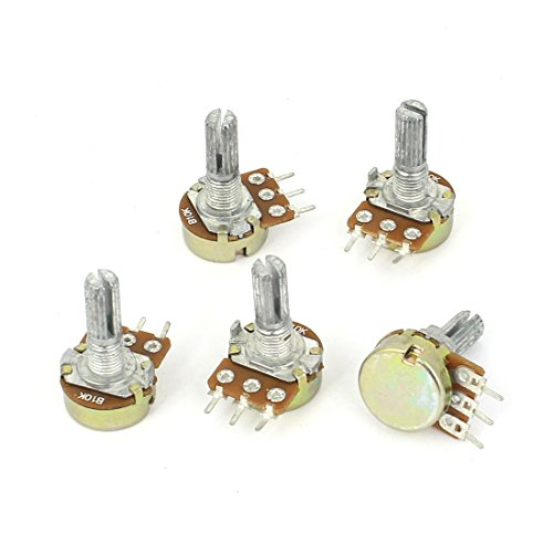 Uxcell a15011600ux0235 5 Piece 10K Ohm Linear Taper Rotary Potentiometer, 10KB B10K Pot ()