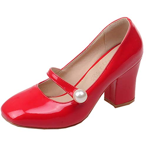 Artfaerie Womens High Heels Mary Janes Strappy Pumps Patent Leather Closed Toe Summer Dolly Shoes (US8, Red) ()