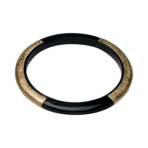 - Takobia Women's Thin Two Tone Black Hematite Plated & Scratched Gold Flashed Bangle Bracelet - 3 1/8 inch Diameter