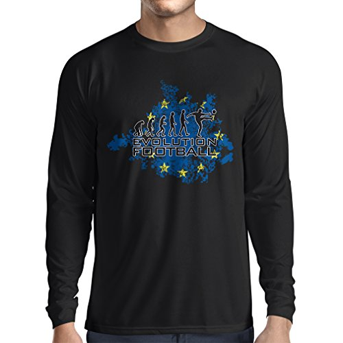 fan products of lepni.me N4454L Long Sleeve t Shirt Men Football Evolution In EU (Large Black Multi Color)
