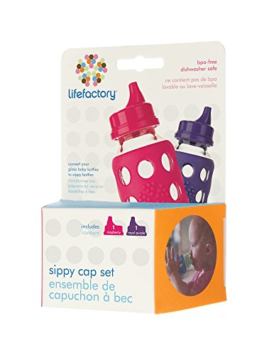 Lifefactory Spillproof Sippy Caps 2-Pack for 4-Ounce and 9-Ounce BPA-Free Glass Baby Bottles, Raspberry and Royal Purple
