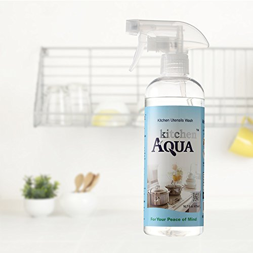 KitchenAQUA All Nature All Purpose Household Multi Surface Cleaner 16.7oz Spray, Cuts Through Grease, Remove Bacteria Salmonella, Detergent Dishwasher, No Chemical No SLS, Odorless Foamless, Child Safe