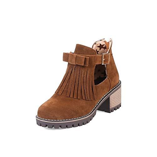 Mujer PU Amarillo Tacones Verde ZHZNVX amp; Heel Chunky Invierno Poliuretano Otoño Almendra Zapatos de Comfort Black nfExTa