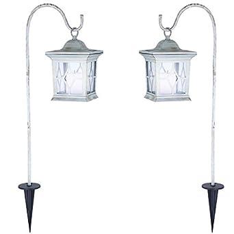 a78e09583d359b 2 x lampe solaire lampadaire luminaire sur pied pique borne à piquer jardin  lanterne métal blanc