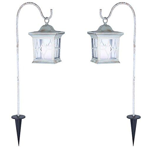 2 x lampe solaire lampadaire luminaire sur pied pique borne à piquer jardin  lanterne métal blanc