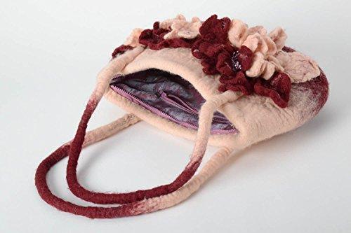 avec Sac epaule Cadeau feutree fait femme fleurs en porte cabas main laine Sac w0vrO0qAx