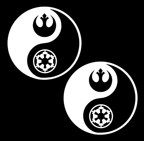 UR Impressions 3in. Rebel and Empire Yin Yang 2-Pack Decal Vinyl Sticker Graphics Car Truck SUV Van Wall Window Laptop|White|3 Inch|URI641