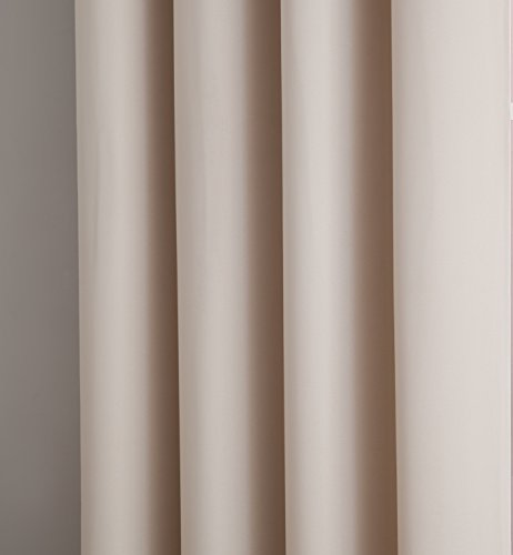 """Erica - Premium Rod Pocket Blackout Curtains with Tiebacks - 2 Panels - Total 108 Inch Wide (54 Each Panel) - 84 inch Long - Solid Thermal Insulated Draperies (54"""" W x 84"""" L - Each Panel, Ivory) - PACKAGE INCLUDES: 2 rod pockets curtain panels and 2 rope tiebacks. PERFECT SIZE: 54 inches wide x 84 inches long each. Total size 108 inches wide by 84 inches long ROD POCKET: Easy to hang rod pocket - Fits up to 2.5 inch curtain rod. Side hem half inch and bottom hem 2 inch - living-room-soft-furnishings, living-room, draperies-curtains-shades - 41i8SdoGijL -"""