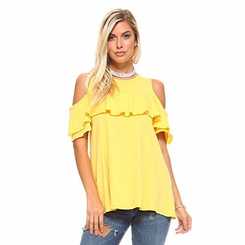 Yellow Ruffle Shirt Top - 8