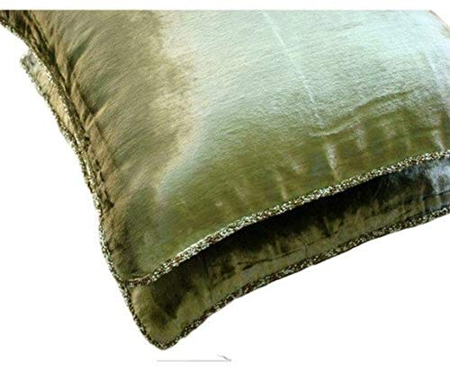 Handmade Olive Green Throw Pillow Cover, Solid Color Beaded Cord Decorative Pillows Cover, Pillow Cover 16