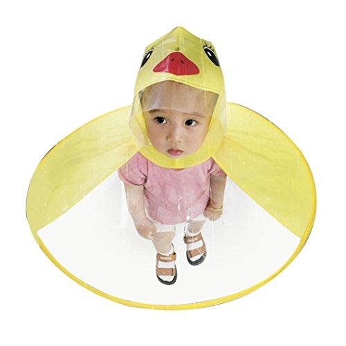 (Children Cute Cartoon Duck Raincoat UFO Shape Umbrella Hat Cape Magical Hands Free Foldable Raincoat (M, Yellow))