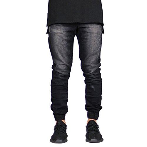 Sarriben Men's Distressed Slim Fit Drop Crotch Elastic Denim Jogger Jeans Black 30