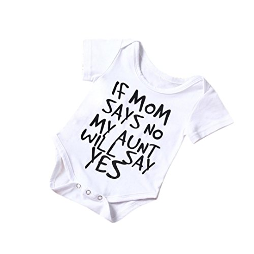 For 0-2 Years old Babies' Jumpsuit, Manadlian Newborn Infant Baby Boy Girl Kids Cotton Romper Jumpsuit Bodysuit Clothes Outfit White