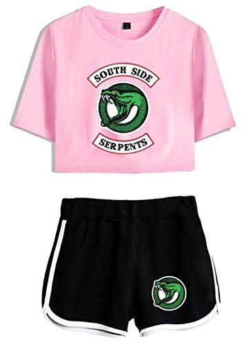 t Ragazze per 4890 rosa T nero Crop e Riverdale Shirt Top e Donne Shirt SERAPHY 87CqFwzxYw