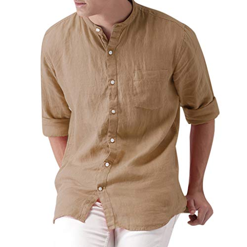 iHPH7 Shirts Hawaiian Shirt Button Down Casual Shirt Short Sleeve Beach Shirts Sunmer Fashion Solid Comfortable Smart Shirts Top Blouse Cotton Tops Men (L,3- Khaki)