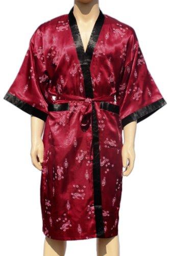 Cramoisi Bourgogne Kimono Peignoir Robe Robe de chambre Robe Nuit