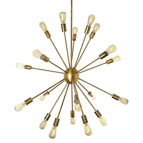 20-Light Sputnik Chandelier Brass - Large Mid Century Modern Ceiling Fixture, Fits 40W E26 Bulbs, Atomic Starburst Pendant, Dimmable, ETL-Listed