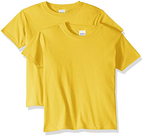 Gildan Kids' Big Heavy Cotton Youth T-Shirt, 2-Pack, Daisy, Small ()