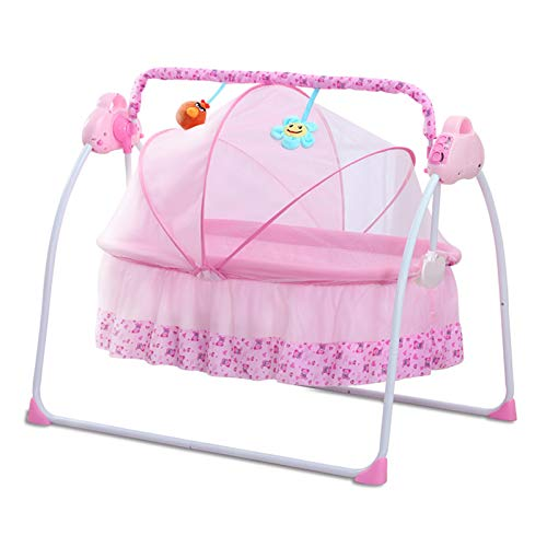 CBBAY Electric Cradle for Baby Automatic Baby Basket Electric Rocking MultiFunction Baby Swing Cradle Bed with Music Pink