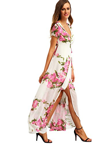 Milumia Women's Vintage Floral Print Split Wrap Maxi Dress White L