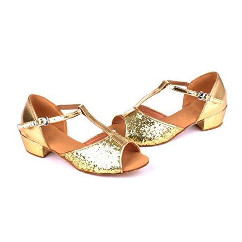 de Modern Verano Zapatos Baile Samba Baile Jazz de Cuero Sandalias Zapatos de Adultos de de Oro Tira Baile Onecolor BYLE de Latino Latino Tobillo Zapatos Zapatos de IwTPqIH