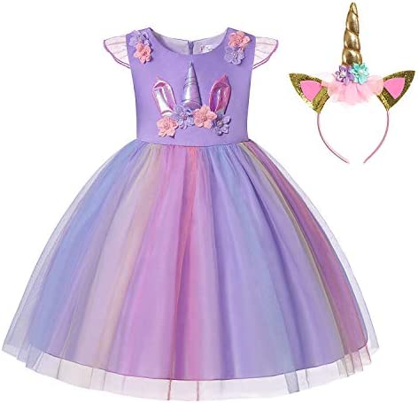 Muababy Baby Girl Unicorn Costume Pageant Flower Princess Party Dress with Headband
