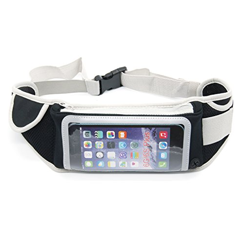 Adjustable Running Belt Waterproof Fanny Pack with Headphone Port and Fingerprint Touch Supported Waist Bag ,Hands Free Workout Waist Pack Fits iPhone X / 8 for Running Hiking Cycling Climbing