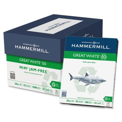 Hammermill Great White 50 Recycled Copy Paper, 20-lb., 8-1/2 x 11, White, 5000/Carton (86780)