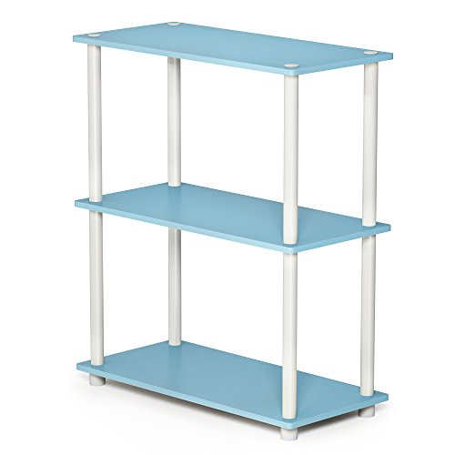 FURINNO 10024LBL/WH Turn-N-Tube 3-Tier Compact Multipurpose Shelf, Single, Light Blue/White