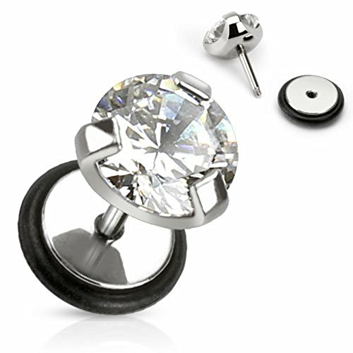 Earrings 316l Surgical Steel Fake Plug Single Pronged Cz Faux 16g Sold As Pair Faux 00g (Gem Earrings Piercing Pronged Ear)