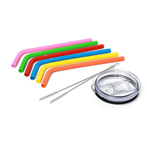 Manul Silicone Reusable Drinking Straws - Best Protection for Teeth, for Smoothies&Shakes - BPS&BPA Free, For Kids&Adults - Includes 2 Cleaning Brushes&Lid for 30 oz Tumbler, Multicolor Set of 6