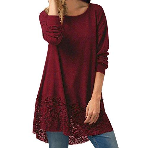 Mr.Macy T Shirt Dress, Women Casual Long Sleeve Lace Trim Hem Hoodie High Low Loose Tunic Tops Blouse (XL, Wine - Hilo Macys