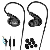 Fitness Earbuds, E260 Stereo Bass Sweatproof Earhook Headphones Sports Ear Buds with Microphone Remote Over Ear Noise Isolating Wired Jogging Earbuds Running Earphones for Exercise Gym Workout Black