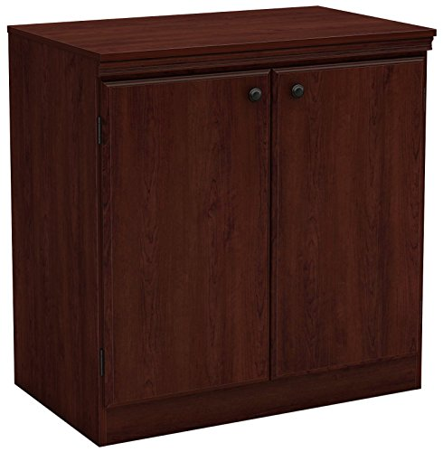 Doors Wood Veneer (South Shore Small 2-Door Storage Cabinet Adjustable Shelf, Royal Cherry)
