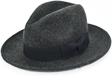 Amazon.com   Gray Indiana Jones Men S 100% Wool Felt Gangster Brim Fedora  Safari Dress Derby Hat   Baby 8568e3ce08e