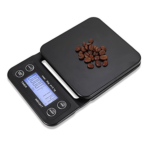 mingshang Digital Kitchen Food Coffee Scale for Cooking Baking Multifunction Weighing Electronic Timer With LCD Display Black 6.6lb/3kg (Black(Blue Backlight))