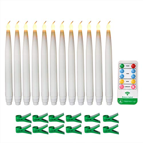 12pcs Battery Operated Flameless Taper Candles Flickering Flameless Led Electric Warm White Remote Control Candle Lights With Clip for Christmas Halloween Party Valentine's Day Decoration-0.65inx7.5in