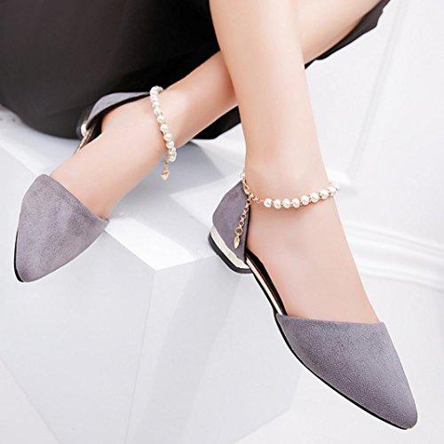 Talon Bas Cheville Pointu Sandales Pied Sexy Gris Fête Chaussures Des Femmes Femmes À Voberry® Eté De Doigt Décontractée Femme Perlé 4qyPvwR8c