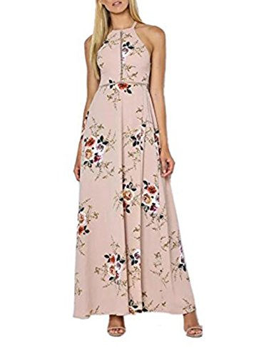 Women's Sexy Split Floral Print Off-shoulder Beach Party Maxi Dress Khaki Size L