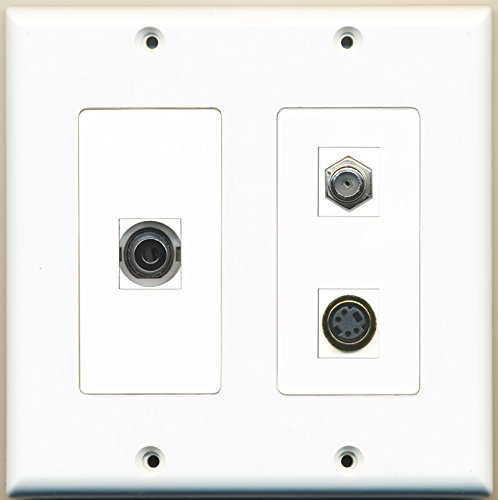 RiteAV - 1 Port Coax Cable TV- F-Type 1 Port S-Video 1 Port 3.5mm - 2 Gang Wall Plate (Mm 3.5 F-type S-video)