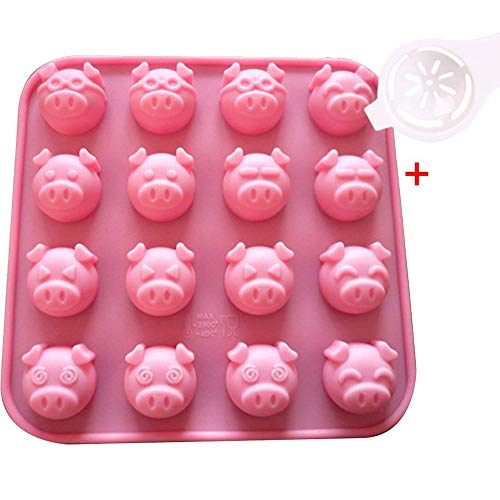 (Moolecole 16-Cavity Different Pig Expression Silicone Cake Soap Decoration)