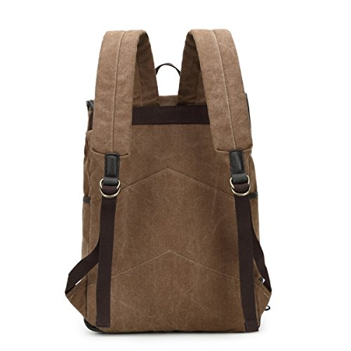 Canvas Backpack Version Korean Shoulder Of Trend And Women The Bag Brown Outdoor Tourism Men qqr4WRH1